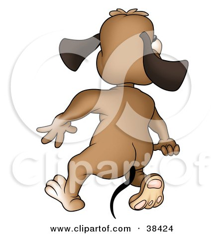 clipart dog walking. a Brown Dog Walking Away