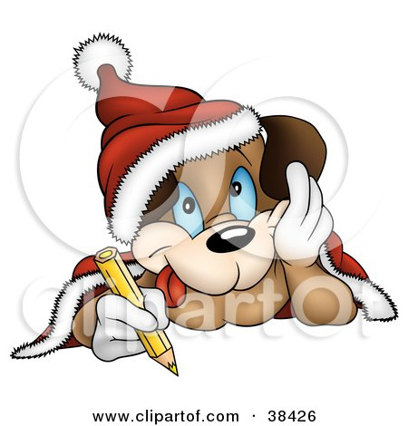 Clipart Illustration of a Dog In A Santa Hat, Coloring With A Yellow Colored Pencil by dero