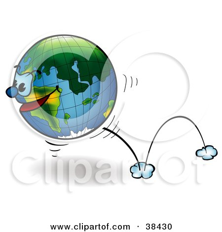 Clipart Illustration of a Determined Earth With A Face, Bouncing By by dero
