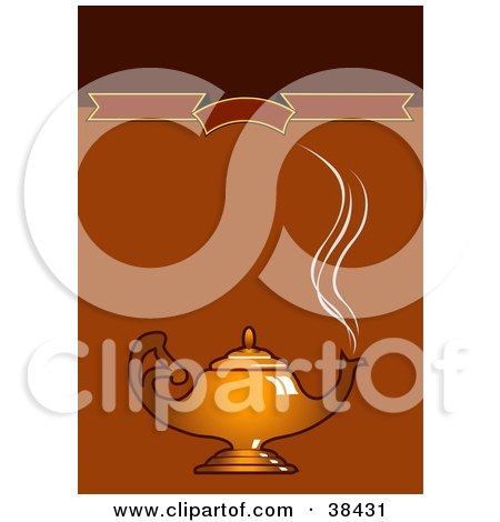 Clipart Illustration of Steam Rising From A Golden Coffee Pot Or Genie Lamp, Over A Brown Background With A Blank Banner by dero