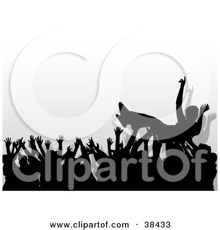 Clipart Illustration of a Concert Crowd Of Silhouetted Hands Passing A Crowd Surfer by dero
