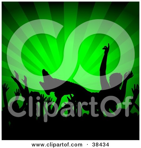Clipart Illustration of a Crowd Of Silhouetted Hands Passing A Crowd Surfer At A Concert, Over A Green Bursting Background by dero