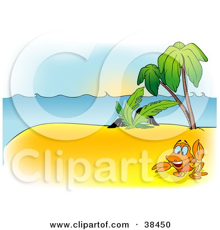 Clipart Illustration of a Nature Background Of A Crab Near Palm Trees On An Island by dero