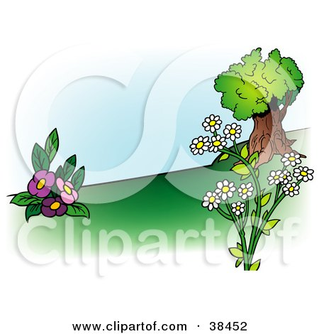 Clipart Illustration of a Nature Background Of Pink And White Flowers Near A Tree On A Hillside by dero