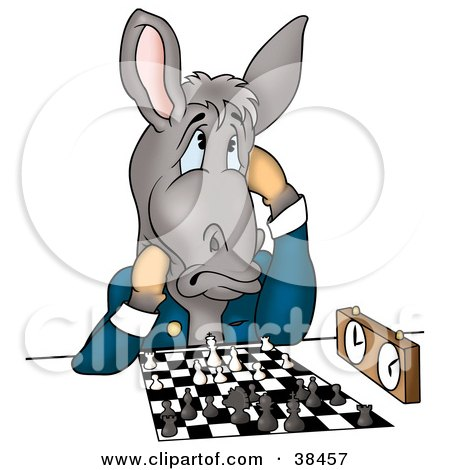 Clipart Illustration of a Gray Donkey In A Jacket, Thinking Of His Next Move During A Chess Game by dero