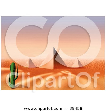 Clipart Illustration of a Lone Cactus Near The Egyptian Pyramids At Giza by dero