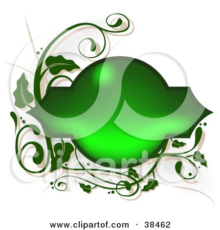 Clipart Illustration of a Shiny Blank Green Text Box Framed In Green Vines, On A White Background by dero