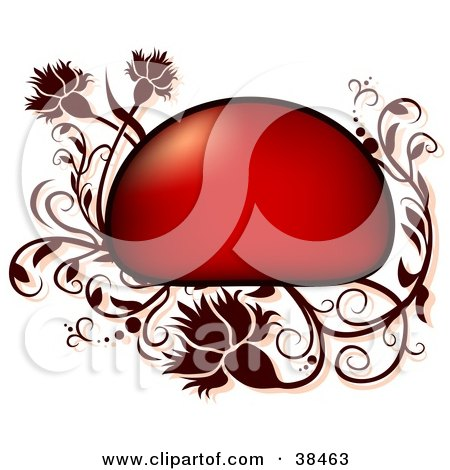 Clipart Illustration of a Red Text Box Bordered In Dark Red Vines And Flowers by dero