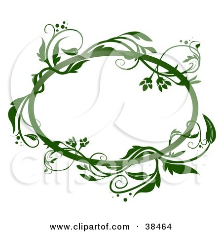 Clipart Illustration of a Blank Oval Text Box Framed In Green Vines, On A White Background by dero