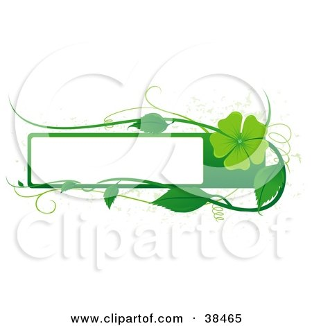Clipart Illustration of a Blank White Text Box Bordered In Green With Tendrils, Leaves And A Green Flower by dero