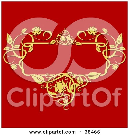 Clipart Illustration of a Blank Text Box Bordered By Golden Vines, On A Red Background by dero