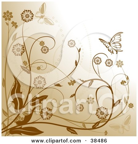 Clipart Illustration of a Brown Background With Flowering Plants And Two Butterflies by dero