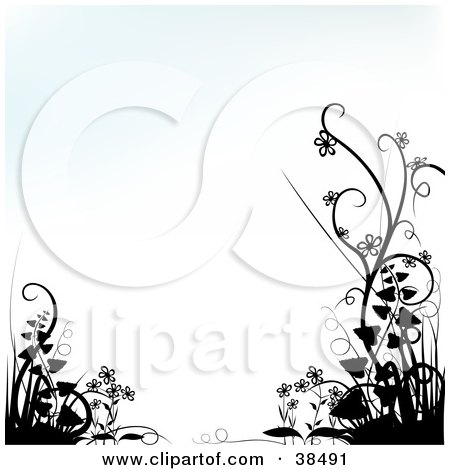 Clipart Illustration of a Faint Blue And White Background Bordered By Black Silhouetted Plants In The Lower Corners by dero