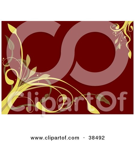 Clipart Illustration of Yellow Vines Growing From The Corners Of A Red Background by dero