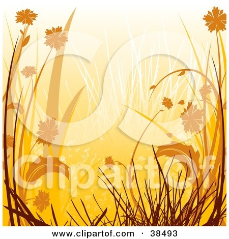 Clipart Illustration of an Orange Background Of Silhouetted Grasses And Flowers by dero