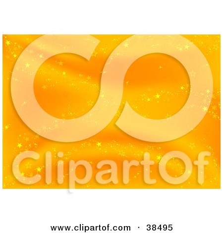 Clipart Illustration of a Gradient Orange Background With Sparkly Stars by dero
