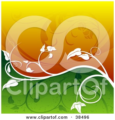 Clipart Illustration of a Wavy Background Of Orange And Green Divided By A White Vine With Silhouetted Plants by dero