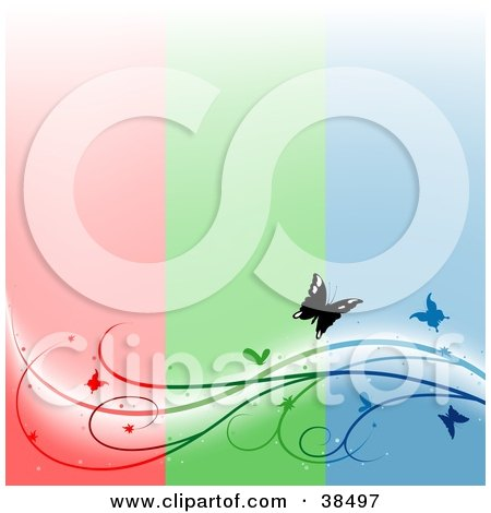 Clipart Illustration of a Vertical Striped Red, Green And Blue Background With A Vine And Butterflies Spanning The Bottom by dero