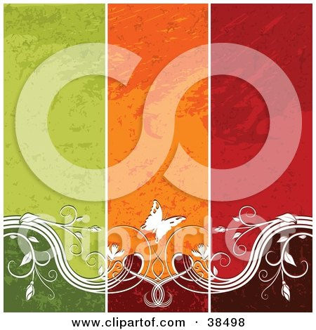 Clipart Illustration of a Vertical Striped Green, Orange And Red Background With White Vines And Butterflies Spanning The Bottom by dero
