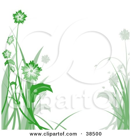 Clipart Illustration of a White Background Bordered In Green And Gray Flowers On Tall Stalks by dero