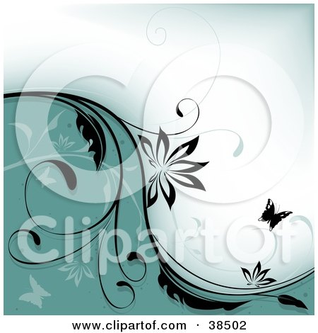 Clipart Illustration of a Greenish Blue And White Background Divided By A Black Vine And Butterfly Silhouettes by dero