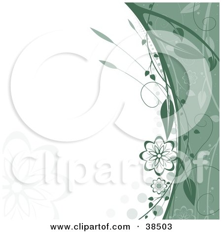 Clipart Illustration of a Green Border Of Vines And Flowers Along A White Background With Faint Flower Silhouettes by dero