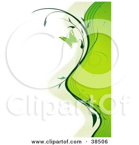 Clipart Illustration of Waves Of Green Lines, Spots And Vines Along The Right Side Of A White Background, With A Green Butterfly by dero