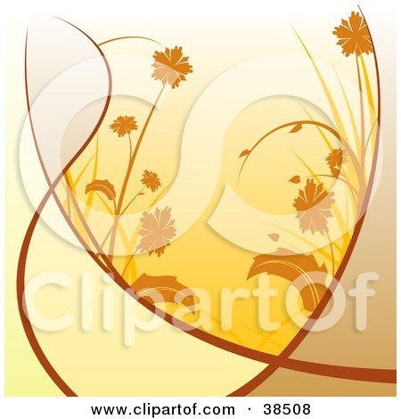 Clipart Illustration of a Background Of Orange Flowers And Grasses, With Blades Of Brown by dero