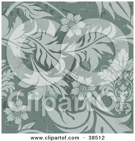 Clipart Illustration of an Elegant Green Floral Background With Grungy Marks by dero