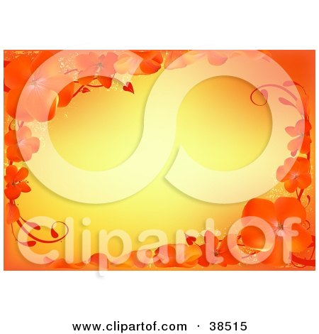 Clipart Illustration of a Gradient Yellow Background Framed In Beautiful Orange Flowers And Petals by dero