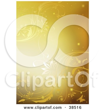 Clipart Illustration of a Golden Background Of Elegant Vines, Sparkles And Butterflies by dero