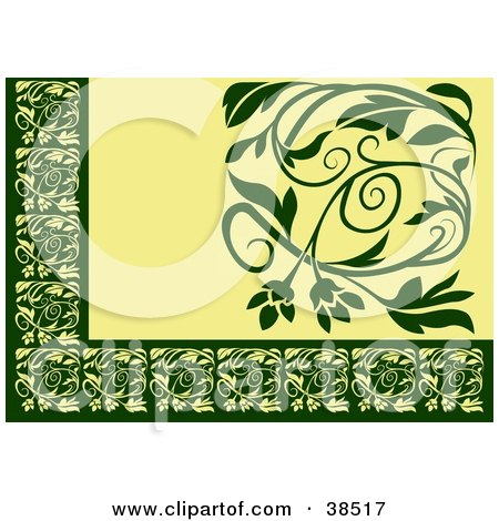 Clipart Illustration of a Green And Yellow Floral Border by dero