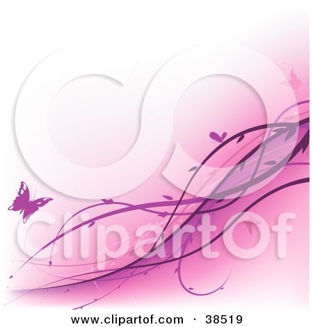 Clipart Illustration of Pink Vines Spanning Diagonally Over A Pastel Pink Background With Butterflies by dero