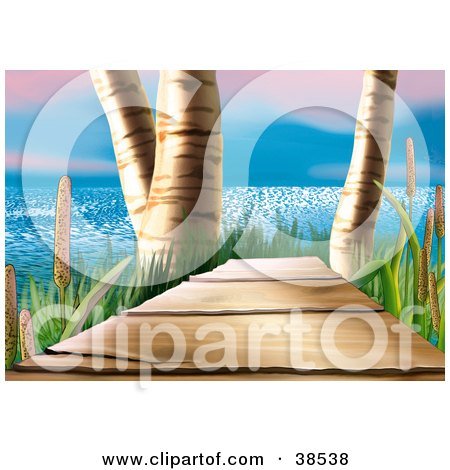 Clipart Illustration of a Coastal Wood Footbridge Between Birch Trees And Cattails With A View Of The Sea by dero