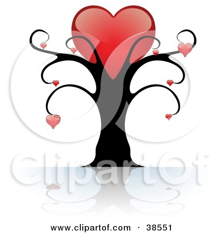 Clipart Illustration of a Black Tree With One Large Red Heart On Top And Smaller Hearts Suspended From The Branches by dero