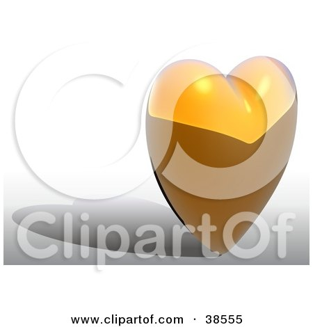 Clipart Illustration of a Gold Heart With Shadows by dero