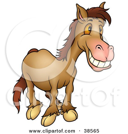 Clipart Illustration of a Grinning Brown Horse With Orange Eyes by dero