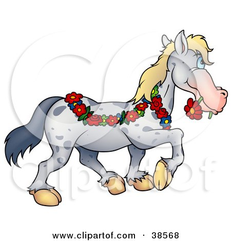 Clipart Illustration of a Spotted Gray Horse Draped In A Floral Garland, Biting A Red Daisy In Its Mouth by dero