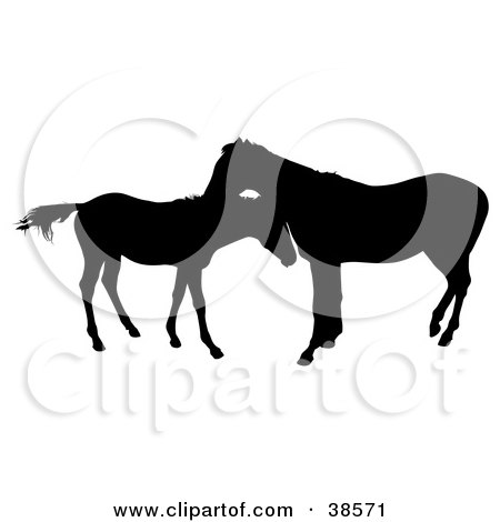 Clipart Illustration of a Silhouette Of A Horse Grooming a Foal by dero
