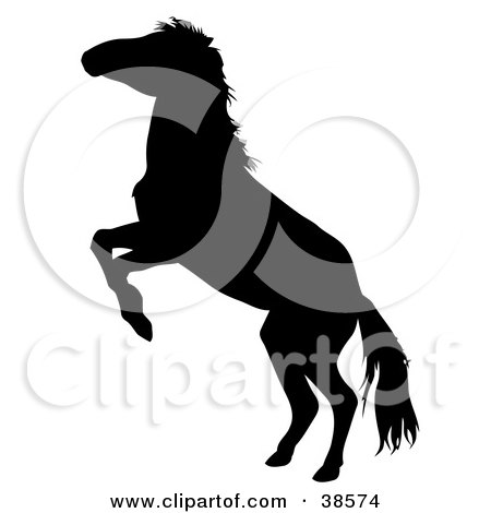 Clipart Illustration of a Black Silhouetted Rearing Horse by dero