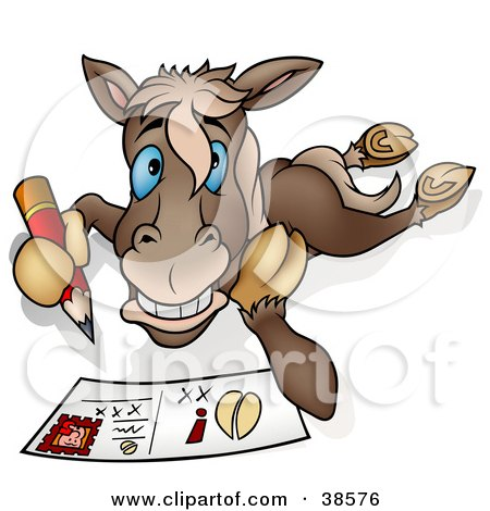 Clipart Illustration of a Horse Writing A Message On A Post Card by dero
