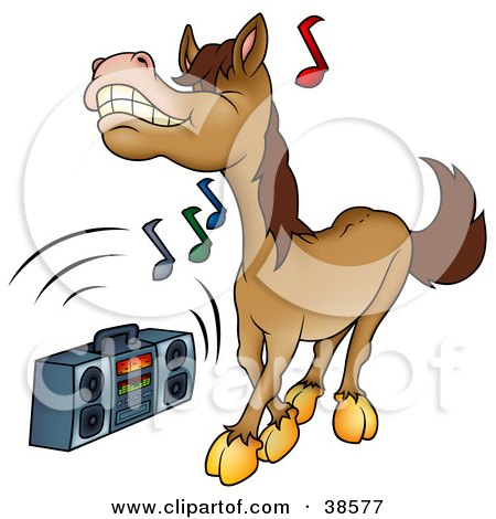Clipart Illustration of a Brown Horse Dancing To Music Playing On A Boom Box by dero