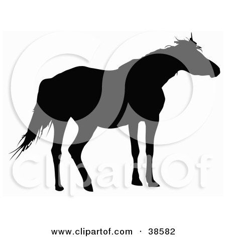 Clipart Illustration of a Black Silhouette Of A Loan Horse by dero