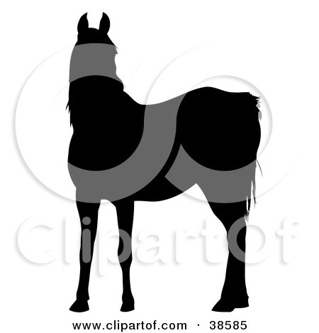 Clipart Illustration of a Black Silhouette Of A Cautious Horse by dero