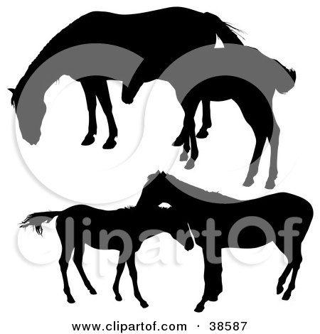 Clipart Illustration of Silhouetted Horses And Their Foals by dero