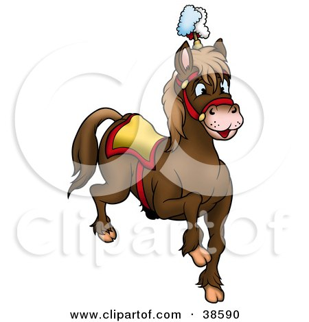 Clipart Illustration of a Brown Circus Horse by dero