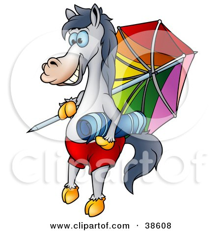 Clipart Illustration of a Vacationing Horse With A Towel And Umbrella On The Beach by dero