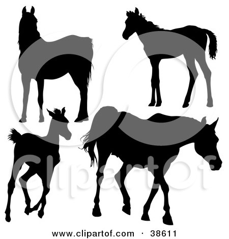 Clipart Illustration of Silhouetted Horses Gazing, Standing, Running and Walking by dero