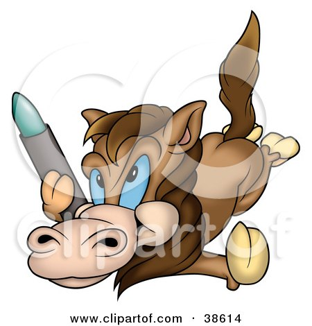 Clipart Illustration of a Creative Horse Laying On Its Belly With A Crayon by dero