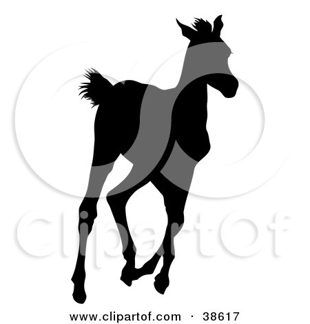 Clipart Illustration of a Black Silhouette Of A Running Foal by dero